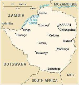 Karte von Zimbabwe