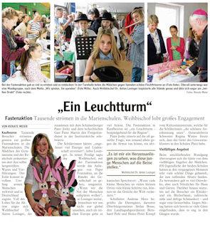 Bericht der Allgäuer Zeitung zur Fastenaktion 2014