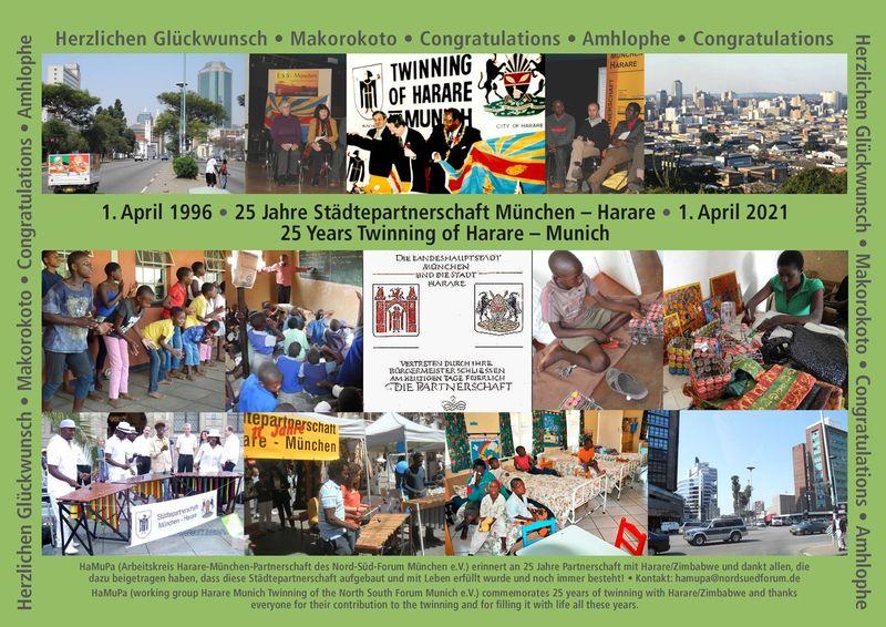 Glückwünsche zu 25 Jahren Städtepartnerschaft München-Harare